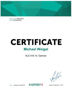 thumbnail of Certificate Kaspersky